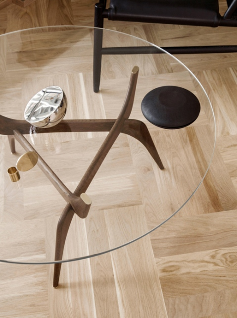 Detail shot of the Triiio Coffee Table originally designed by Hans Bølling in 1958.