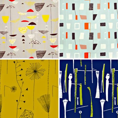 Textile designs by Lucienne Day, clockwise Top Left, Calyx, Lapis, Spectators, Dandelion Clocks