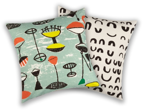 Cushions just launched by John Lewis in the designs of Flotilla and Magnetic by Lucienne Day.
