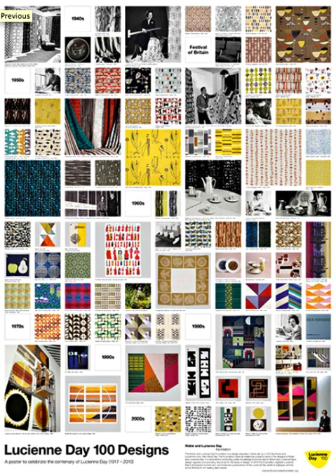 Poster to commorate Lucienne Day's centenary, showcasing archive images of one hundred of Lucienne Day's designs.